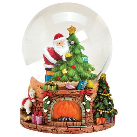 Boule à neige Père Noël sapin cheminée 9 cm