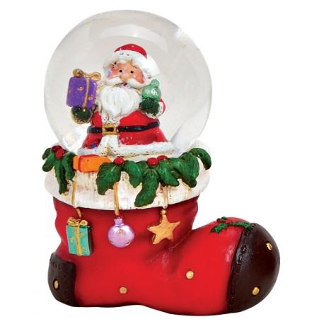 Boule à neige botte Père Noël 8 cm