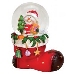 Boule à neige Noël botte Bonhomme de neige 8 cm