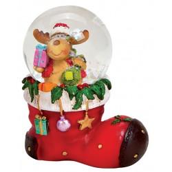 Boule à neige Noël botte Renne 8 cm