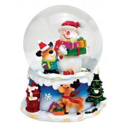 Boule à neige Bonhomme de neige renne 8 cm