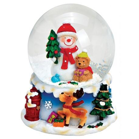 Boule à neige Bonhomme de neige ours 8 cm