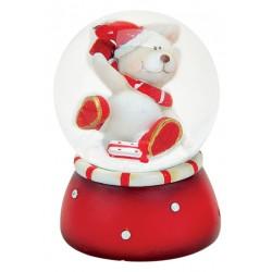 Boule à neige Ours Noël cadeau 6 cm rouge