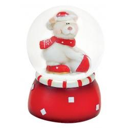 Boule à neige Ours Noël ballon 6 cm rouge
