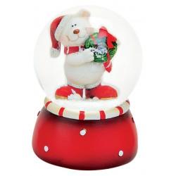 Boule à neige Ours Noël couronne 6 cm rouge