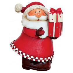 Figurine Père Noël cadeaux résine 10 cm