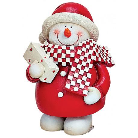 Figurine Bonhomme de neige cadeau résine 10 cm