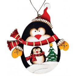 Suspension sapin Noël en bois Pingouin