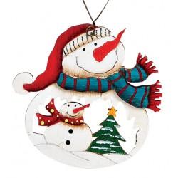 Suspension sapin Noël en bois Bonhomme de neige