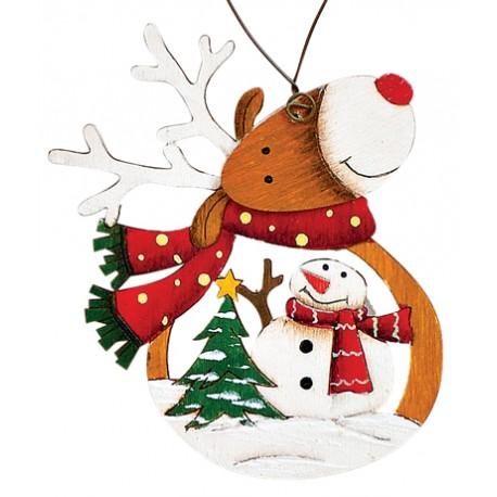 Suspension sapin Noël en bois Renne