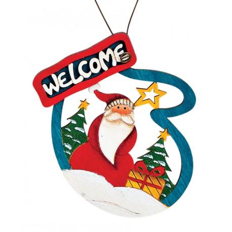 Suspension sapin en bois Père Noël gant