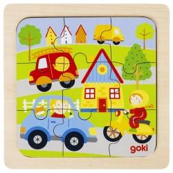 Puzzle enfant en bois véhicules 9 pièces