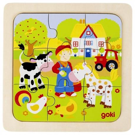 Puzzle enfant en bois ferme 9 pièces