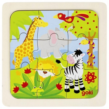 Puzzle enfant en bois jungle 9 pièces