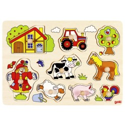Puzzle enfant en bois à encastrement ferme 9 pièces
