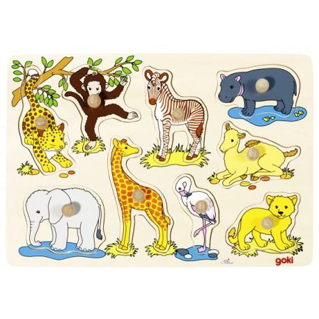 Puzzle enfant en bois à encastrement Bébés animaux d'Afrique 9 pièces