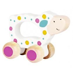 Mouton en bois à roulettes à saisir blanc rose
