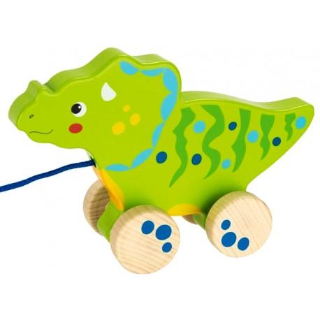 Dinosaure vert en bois à tirer 20 cm