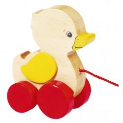 Canard en bois à tirer jaune rouge 9,5 cm