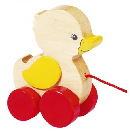 Canard en bois à tirer jaune rouge 10 cm
