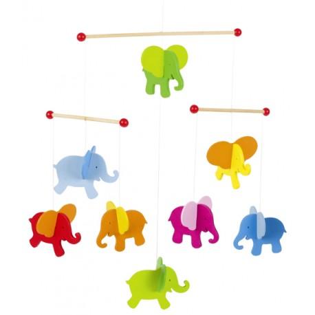 Mobilé bébé en bois éléphants colorés 40 cm