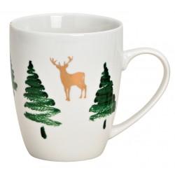 Tasse Noël sapins renne porcelaine 30 cl
