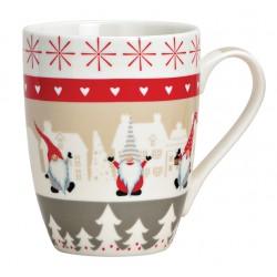 Tasse Nains de Noël gris rouge porcelaine 30 cl