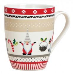Tasse Nains de Noël gris rouge porcelaine 34 cl