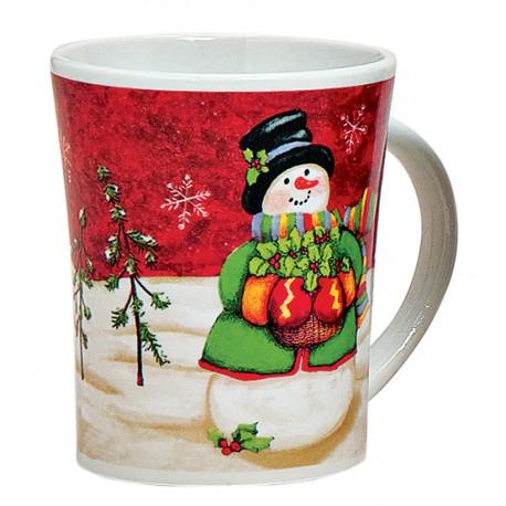 Tasse Noël Bonhomme de neige rouge céramique 35 cl