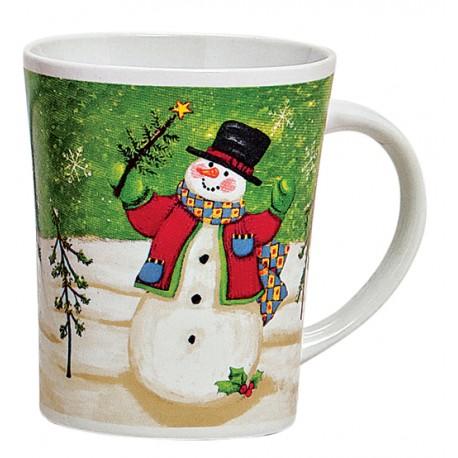 Tasse Noël Bonhomme de neige vert céramique 35 cl