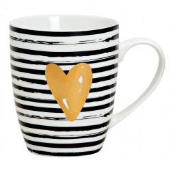 Tasse coeur rayé noir blanc porcelaine 30 cl
