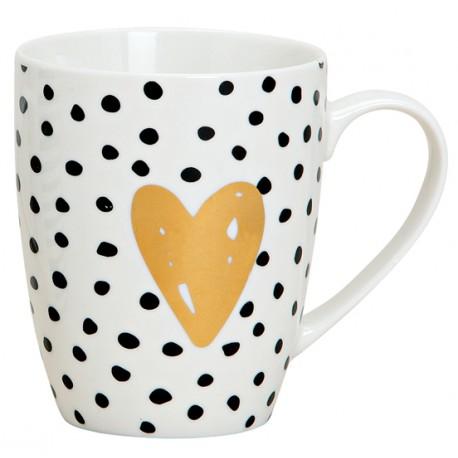 Tasse coeur points noir blanc porcelaine 30 cl