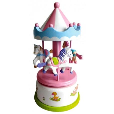 Boîte à musique en bois carrousel rose blanc 17 cm