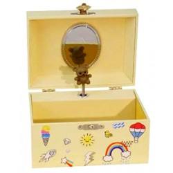 Boîte à musique jaune arc en ciel ourson 15 cm
