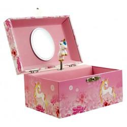 Boîte à bijoux musicale rose licorne 14 cm