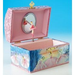 Boîte à bijoux musicale rectangle rose avec danseuses 15 cm