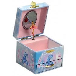 Boîte à bijoux musicale bleu rose danseuse 11 cm