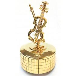 Boîte à musique violon doré avec cristaux de verre 11 cm