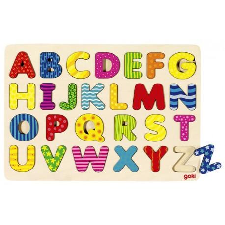 Puzzle enfant en bois alphabet coloré 26 pièces