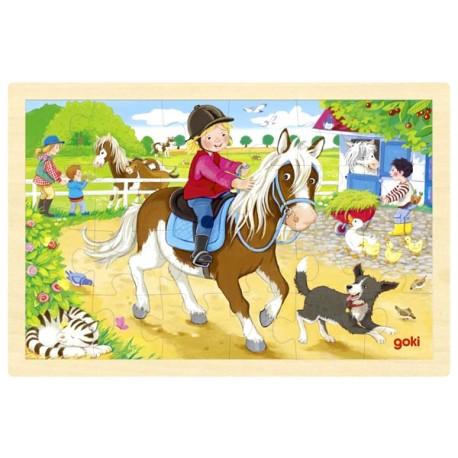 Puzzle enfant en bois balade à cheval 24 pièces