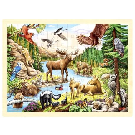 Puzzle enfant en bois animaux d'Amérique du Nord 96 pièces