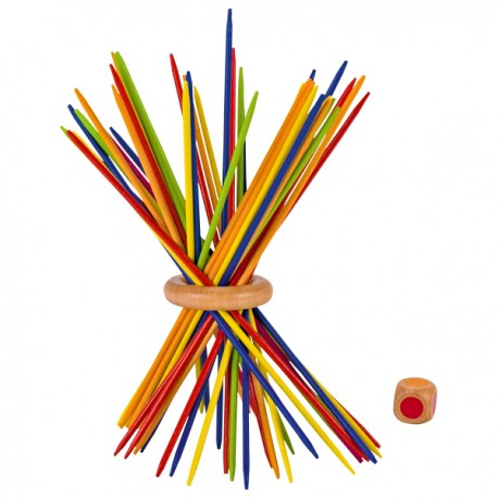 Jeu de Mikado en bois multicolore 18 cm