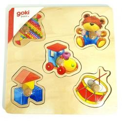 Puzzle enfant en bois à encastrement jouets 5 pièces