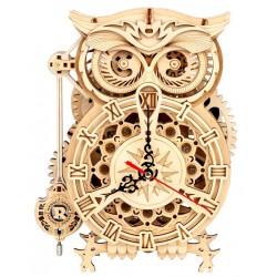 Maquette en bois Horloge hibou animée