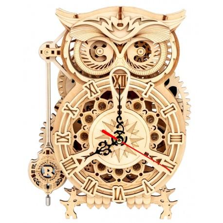Maquette bois Horloge hibou animée