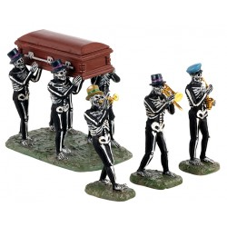 Funérailles avec squelettes musiciens Lot de 4 Lemax Halloween