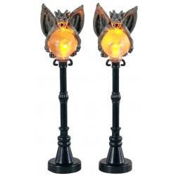 Lampadaires avec gargouilles lumineux Lot 2 Lemax Halloween