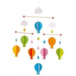 Mobilé bébé en bois montgolfières colorées 53 cm