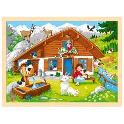 Puzzle cadre enfant en bois Montagne 96 pièces