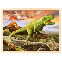 Puzzle cadre enfant en bois Tyrannosaure 96 pièces